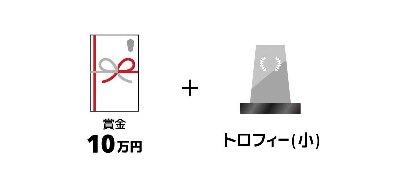 賞金10万円とトロフィー